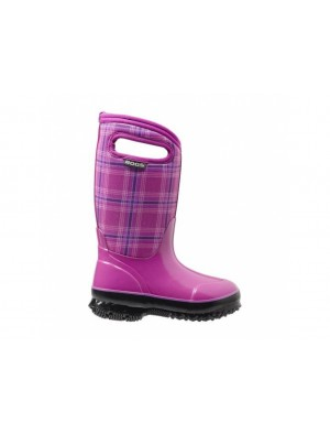 Dětské boty Classic Winter Plaid - růžové